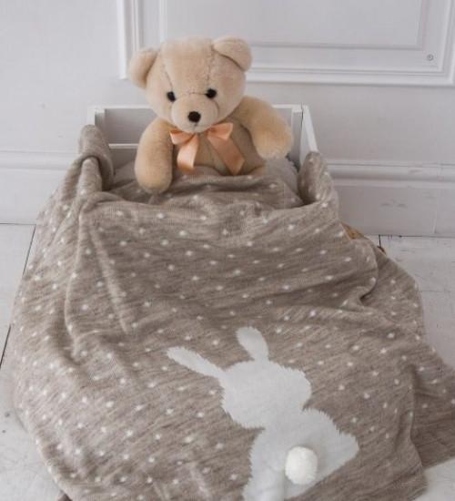 Вязаный плед для новорожденных Ушастый Мишка (Бежевый)