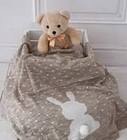 Вязаный плед для новорожденных Ушастый Мишка (Бежевый), фото 1