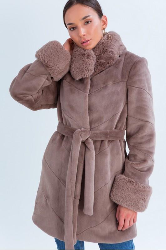 Зимняя теплая модная эко шуба с меховым воротником 42,44,46,48 размер Кофе