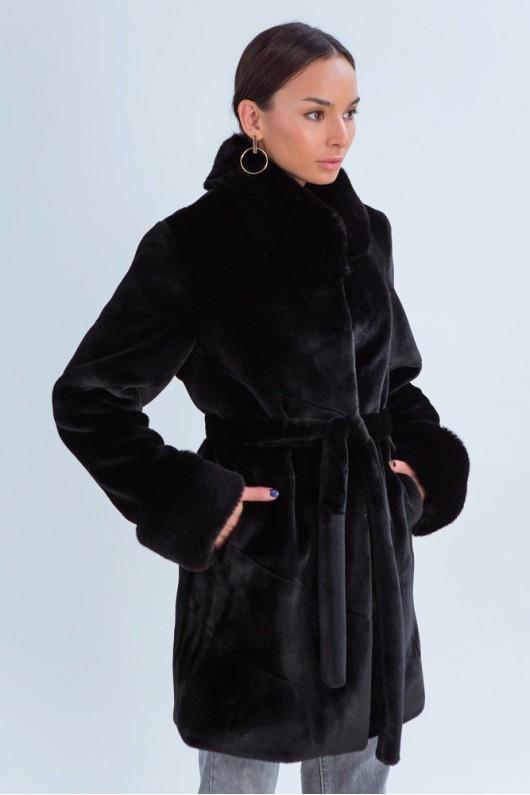 Зимняя теплая модная эко шуба с меховым воротником 42,44,46,48 размер Черный