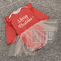 Новогодний р 86 9-12 мес детский боди бодик с фатиновой юбкой для девочки Новый год Merry Christmass 8033 Крас