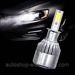Светодиодные LED лампы в фары автомобиля H3, Светодиодная лед лампа COB 6000K 8-48V, LED лампы головного света