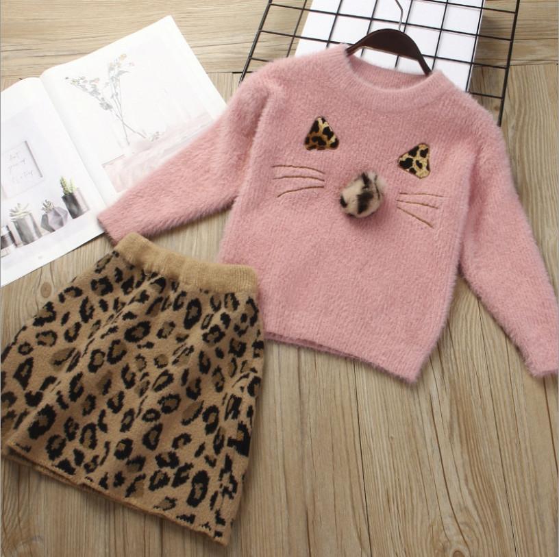 Нарядный теплый  костюм  на девочку с юбкой  2-3 года леопард