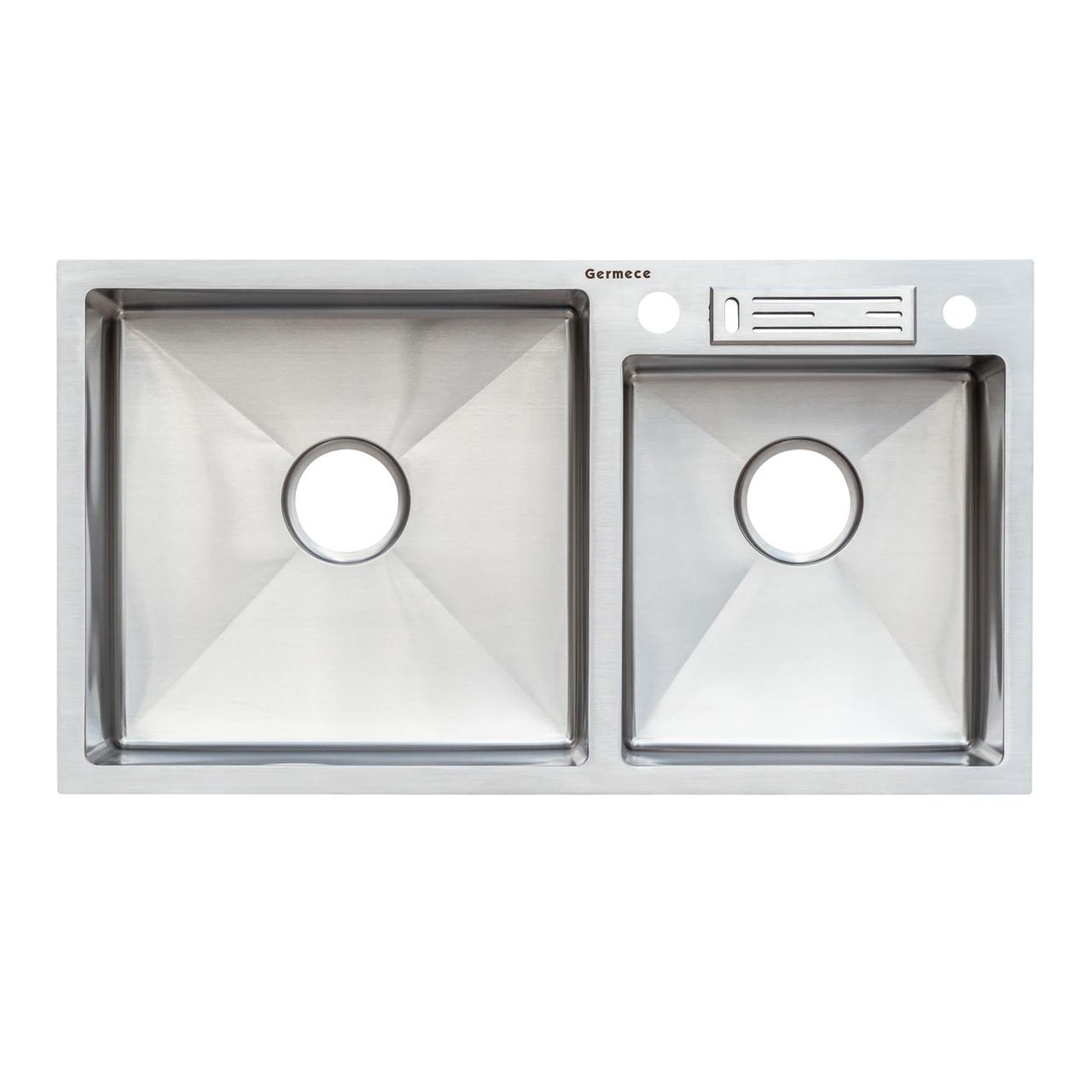 Кухонная мойка на две чаши Germece Handmade 8245/230 с подставкой для ножей 3.0/1.2 мм