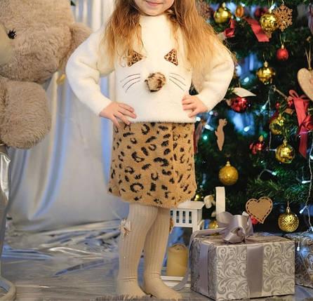 Нарядный теплый  костюм  на девочку с юбкой  2-4 года красный леопард, фото 2