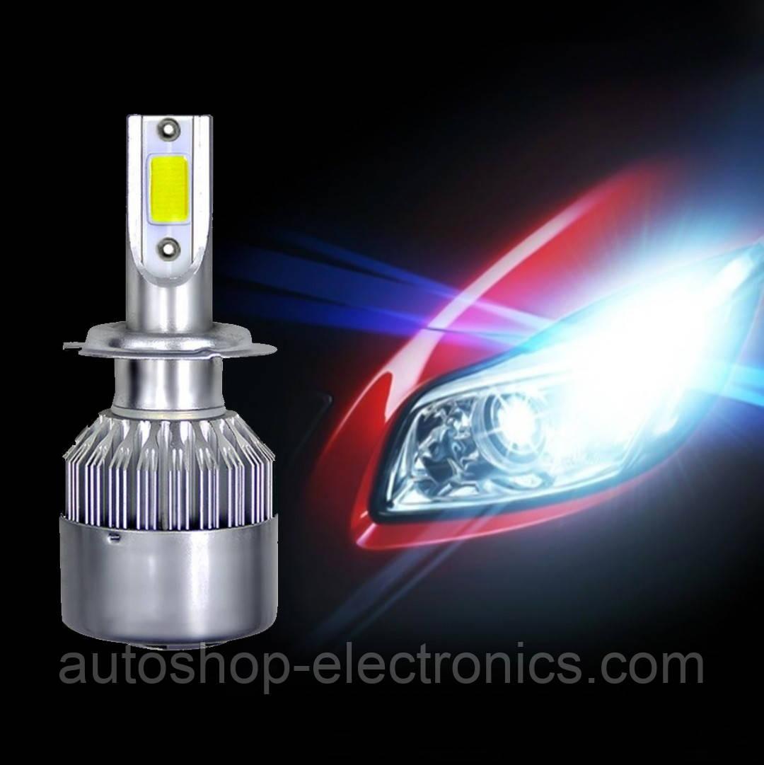 Светодиодные LED лампы в фары автомобиля H7, Светодиодная лед лампа COB 6000K 8-48V, LED лампы головного света