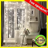 Качественная большая Гирлянда водопад штора на окно 320 LED 3М*3М, белая, холодный белый свет