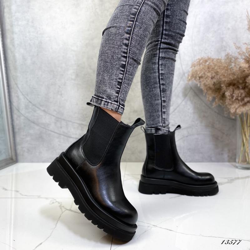 Женские ботинки челси кожаные демисезонные чёрные Ботінки челсі (13577)