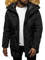 Мужская зимняя куртка парка черная с мехом удлиненная теплая брендовая повседневная