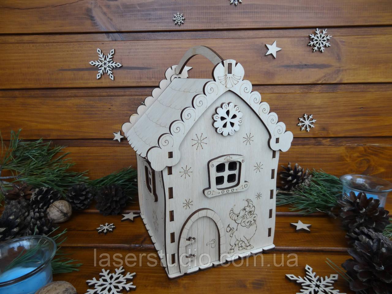 Новогодний подарочный домик для конфет из дерева   Новогодний декор
