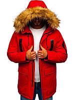 Мужская зимняя парка красная с мехом куртка удлиненная теплая пуховик брендовая повседневная