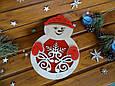 "Новогодняя подарочная коробка для конфет из дерева ""Снеговик""   Новогодний декор, фото 3"