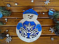 "Новогодняя подарочная коробка для конфет из дерева ""Снеговик""   Новогодний декор, фото 5"