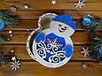 "Новогодняя подарочная коробка для конфет из дерева ""Снеговик""   Новогодний декор, фото 6"