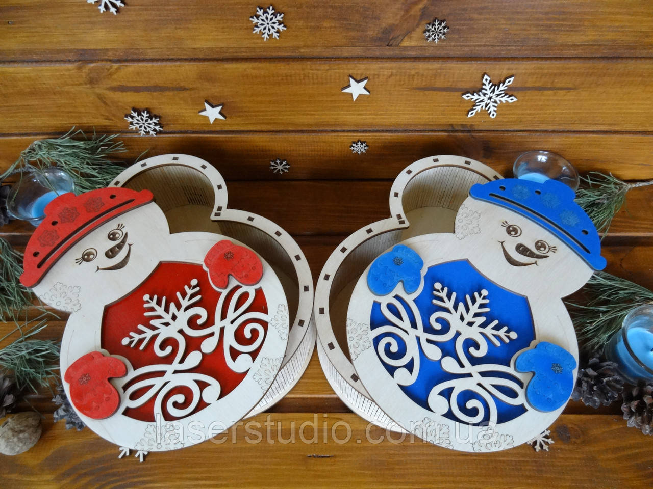 "Новогодняя подарочная коробка для конфет из дерева ""Снеговик""   Новогодний декор"