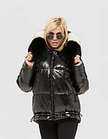 Модная зимняя куртка пуховик короткая из лаковой плащевки дутая черный