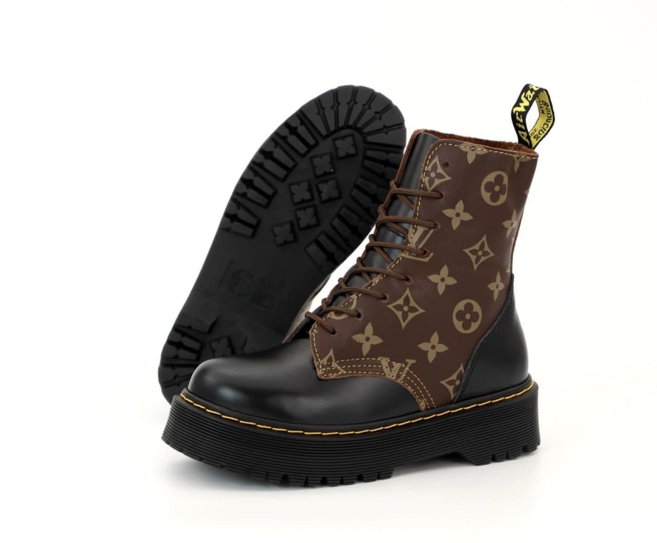Женские ботинки Dr. Martens & Louis Vuitton 31860 коричневые