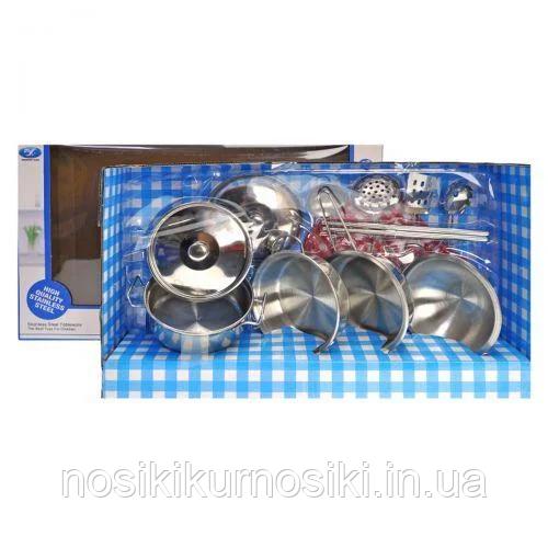 Набір іграшковою металевого посуду - 12 предметів, каструлі, ковші, кухонне приладдя, прихватки