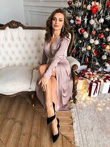 Жіноче плаття в підлогу на запах микродайвинг 40-70 розм