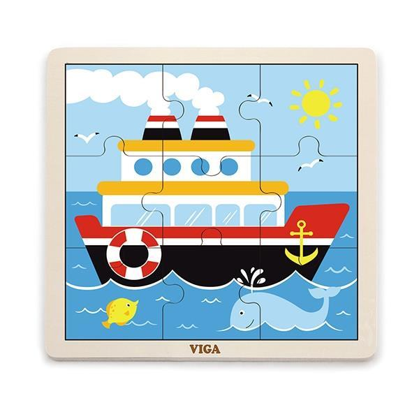 Деревянный пазл Viga Toys Кораблик, 9 эл. (51445)