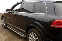 Volkswagen Touareg 2010-2018 гг. Боковые пороги Premium (2 шт, нерж) 60 мм