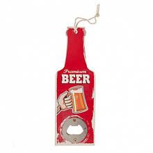 """Открывашка """"Бутылка""""с деревянной ручкой, красная 20 см"""