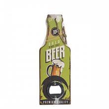 """Открывашка """"Бутылка""""с деревянной ручкой, зеленая 20 см"""