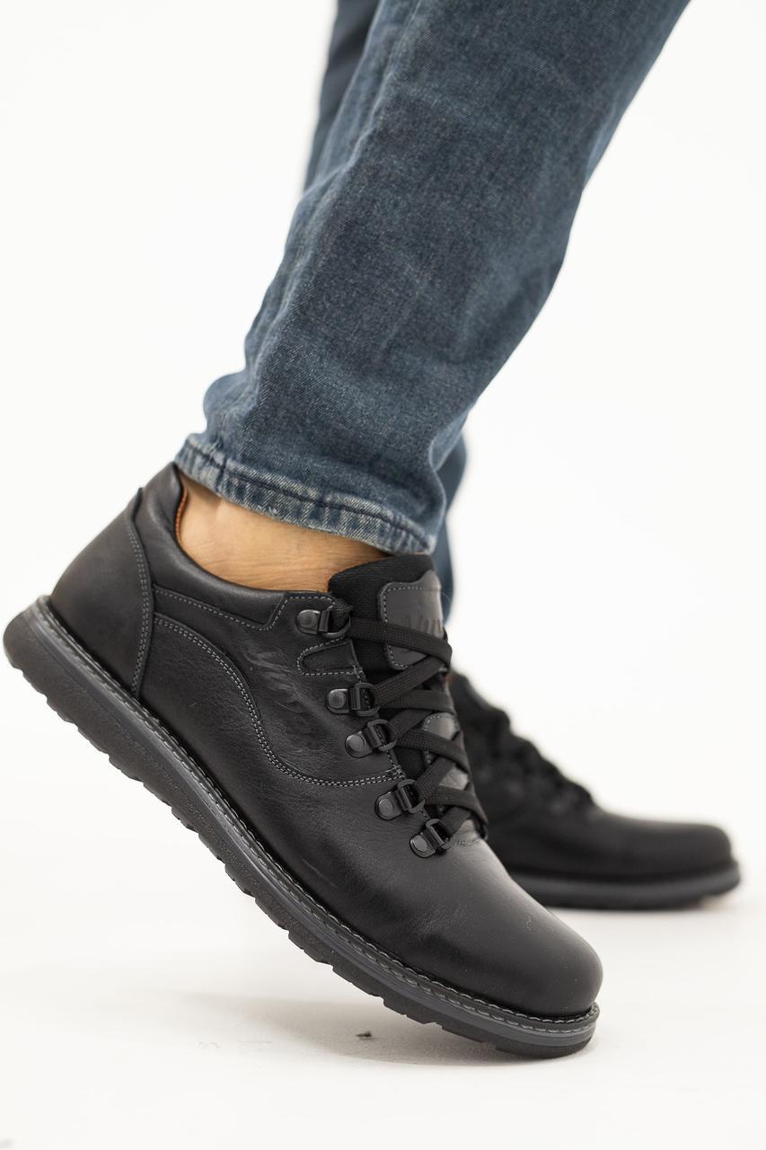 Мужские Повседневные туфли кожаные весна/осень черные-матовые Yuves 650
