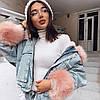 Женская джинсовая короткая утепленная куртка Simplee со съемным розовым мехом M