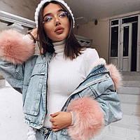 Женская джинсовая короткая утепленная куртка Simplee со съемным розовым мехом M, фото 1