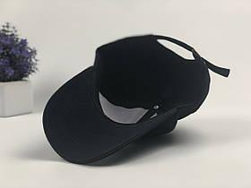 Кепка Бейсболка Мужская Женская Ediko Черная с бордовой полосой на козырьке, фото 3