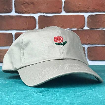 Кепка Бейсболка Мужская Женская The Hundreds Rose с Розой Бежевая, фото 2