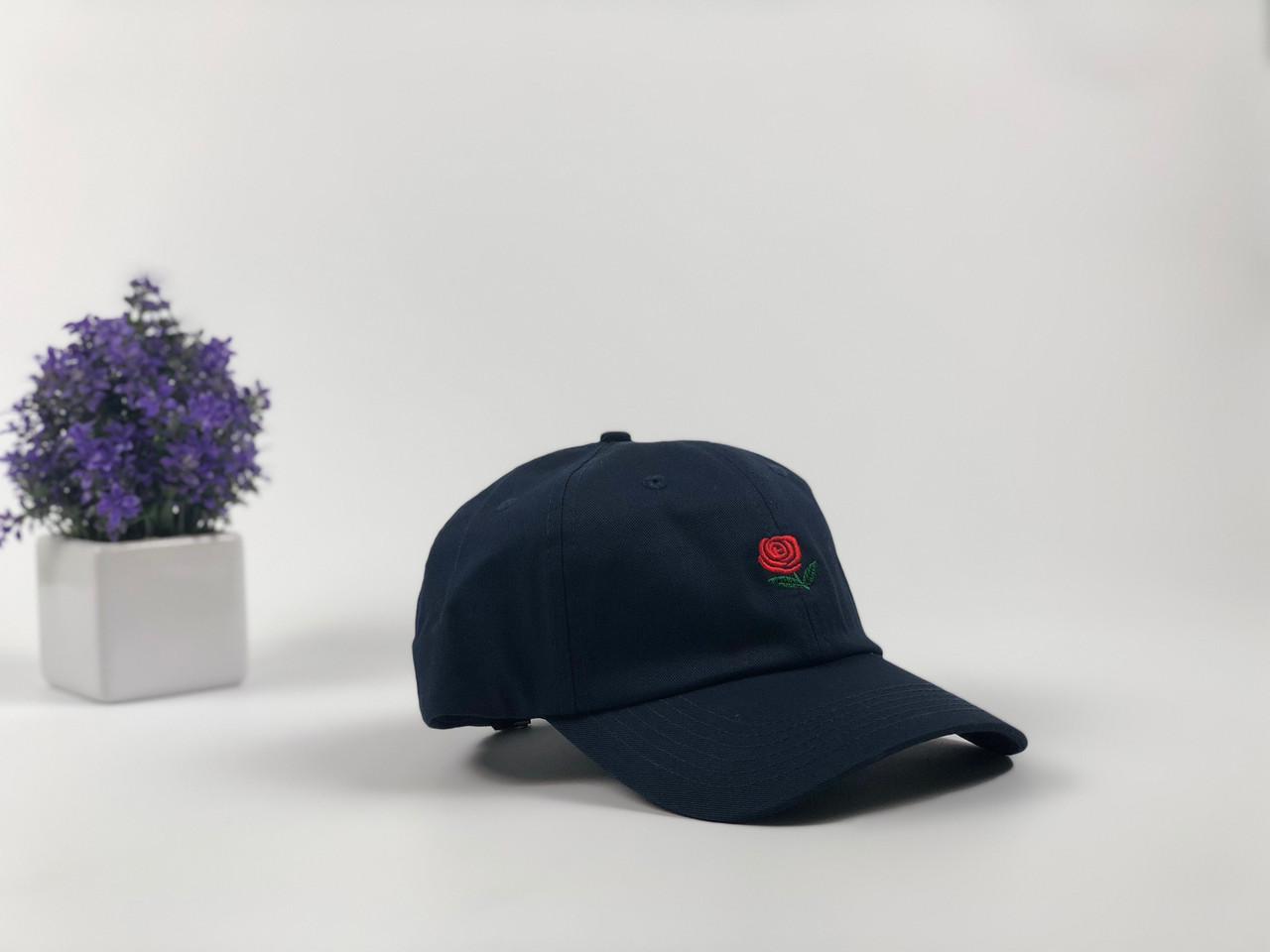 Кепка Бейсболка Мужская Женская The Hundreds Rose с Розой Темно-Синяя
