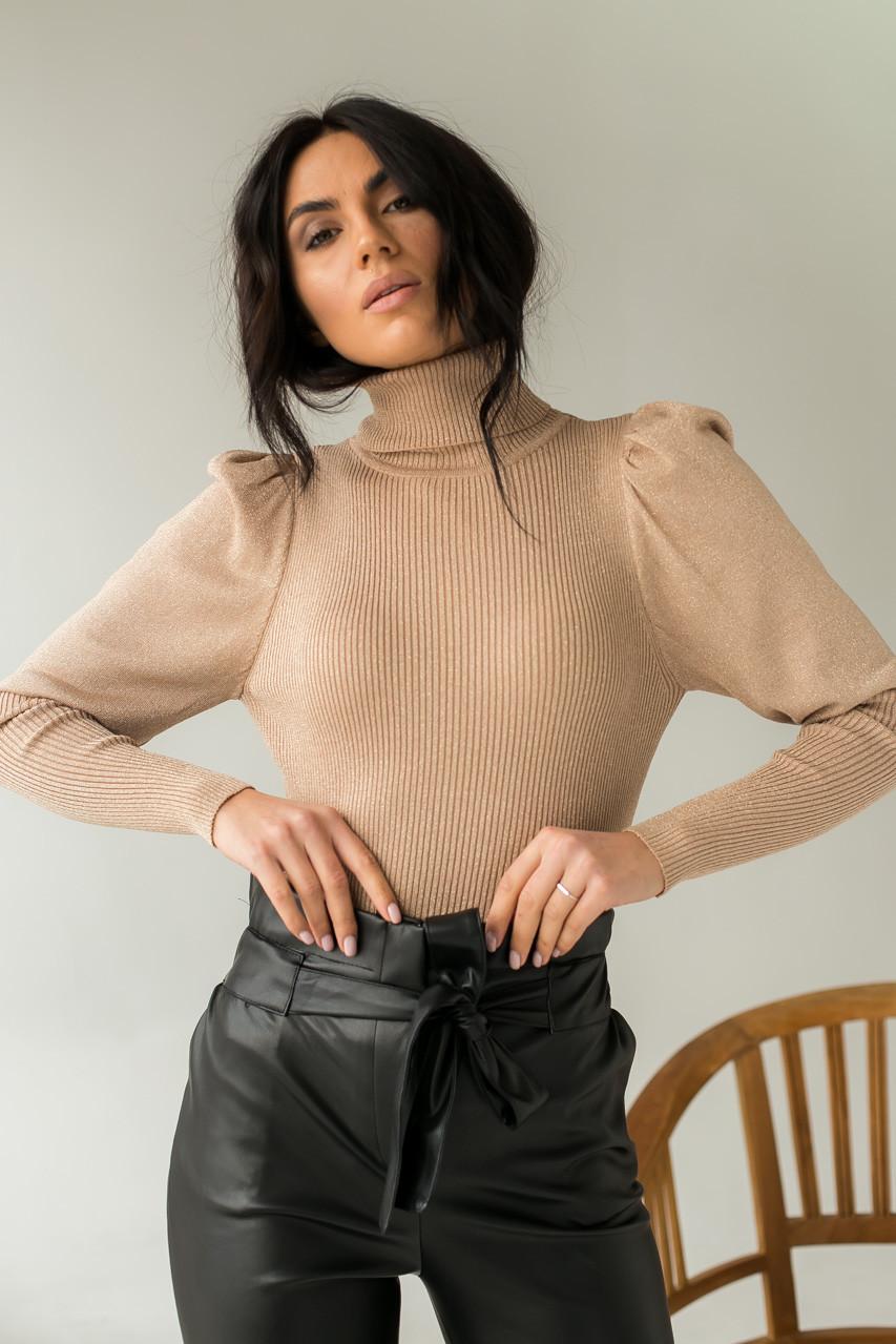 Оригинальный свитер лапша из люрексового полотна с объемными рукавами  Jasmine - кофейный цвет, L/XL (есть
