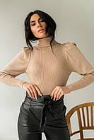 Оригинальный свитер лапша из люрексового полотна с объемными рукавами  Jasmine - кофейный цвет, L/XL (есть, фото 1