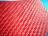 Карбон пленка 3D CF красный с микроканалами 100х152 см.