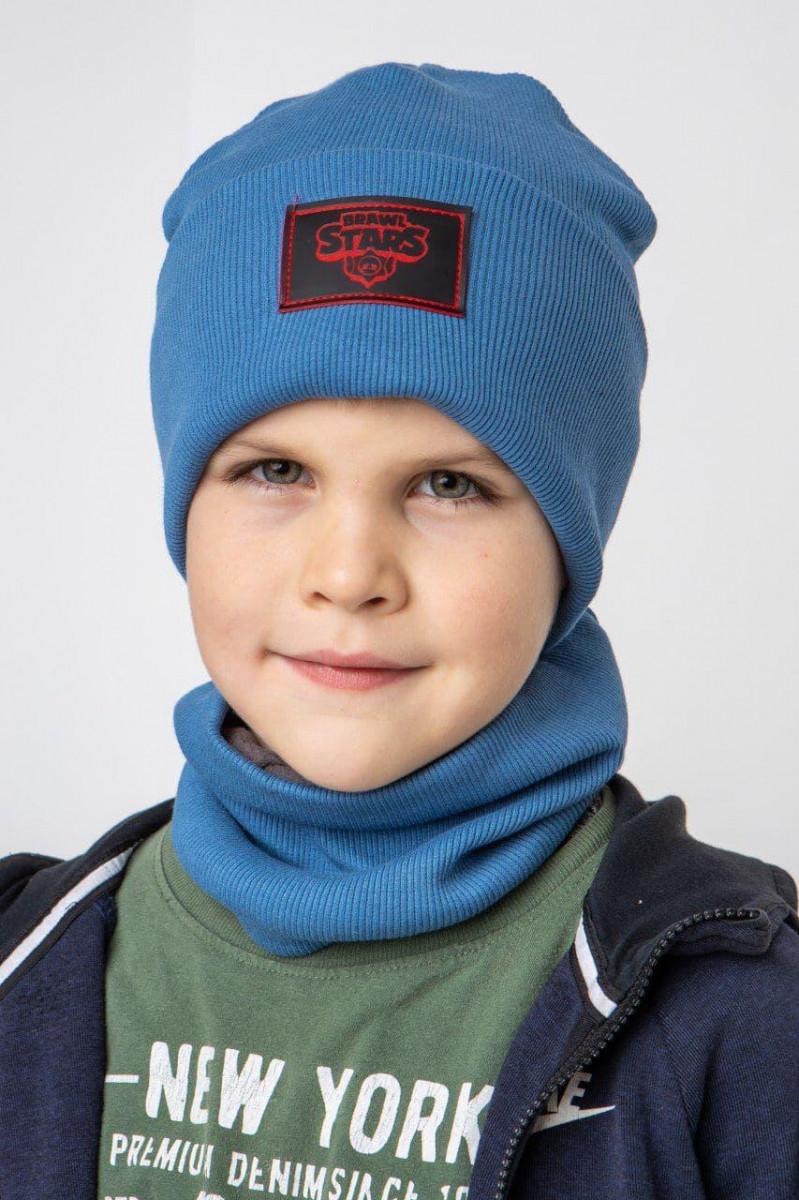 Комплект (шапка хомут) з флісовою підкладкою для хлопчика на весну-осінь оптом - Артикул 2747
