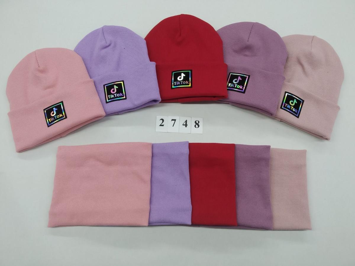 Комплект (шапка хомут) утеплений флісом для дівчинки на весну-осінь оптом - Артикул 2748