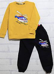 Костюм утепленный для мальчика на флисе: свитшот длинный рукав +штаны, рисунок Вертолет,  х/б,  Ernes