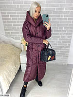 Стильная женская зимняя длинная куртка, цвета - бордо и черный, размеры 42,44,46