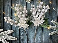 """Новогодняя бутоньерка """"пушистая пуансетия белого цвета"""", фото 1"""