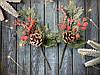 """Новогодняя бутоньерка """"шишка с коралловыми ягодами"""