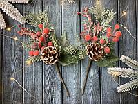 """Новогодняя бутоньерка """"шишка с коралловыми ягодами, фото 1"""