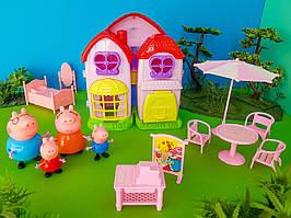 Ігровий набір Будиночок Свинки та її сім'ї звук, світло, 4 фігурки, меблі