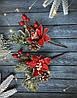 """Новогодняя бутоньерка """"бело-красная пуансетия»"""