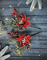 """Новогодняя бутоньерка """"бело-красная пуансетия», фото 1"""