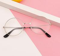 Имидж очки прозрачные круглые в серебряной оправе