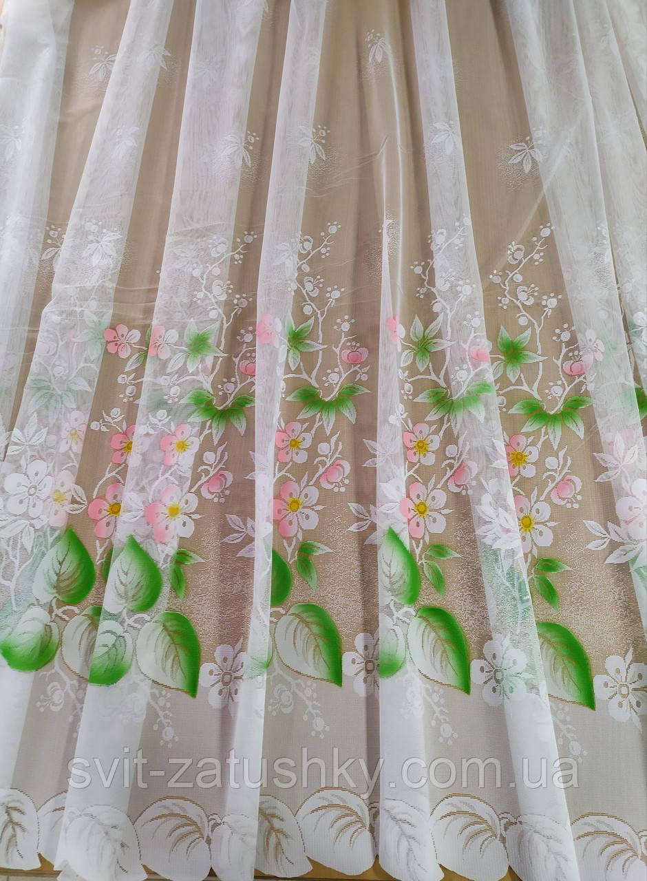 Тюль белая короткая с цветочным узором высотой 1.50 м.