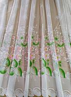 Тюль белая короткая с цветочным узором высотой 1.50 м., фото 1