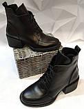 Dolce Gabbana Женские кожаные лаковыезимние ботинки полуботинки на шнуровке, со змейкой средний каблук. Зима., фото 5